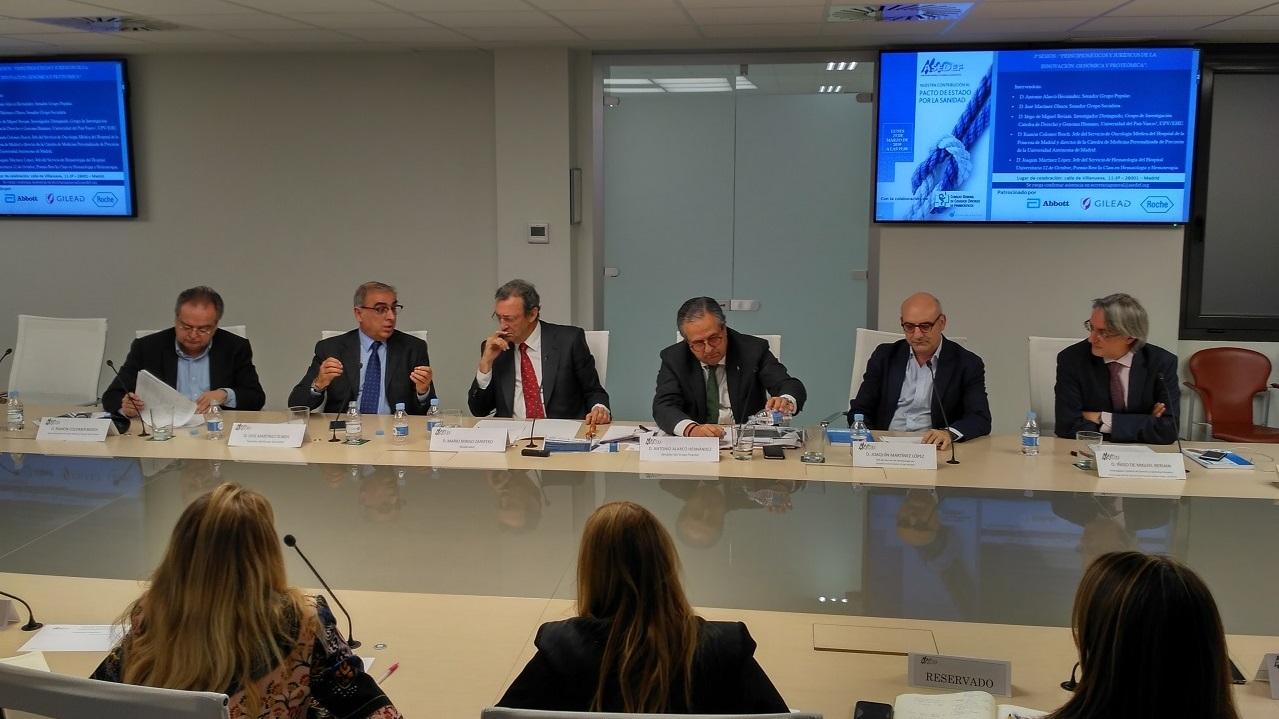 Ramón Colomer, José Martínez Olmos, Mario Mingo, Antonio Alarcó, Joaquín Martínez e Íñigo de MIguel, durante el debate.