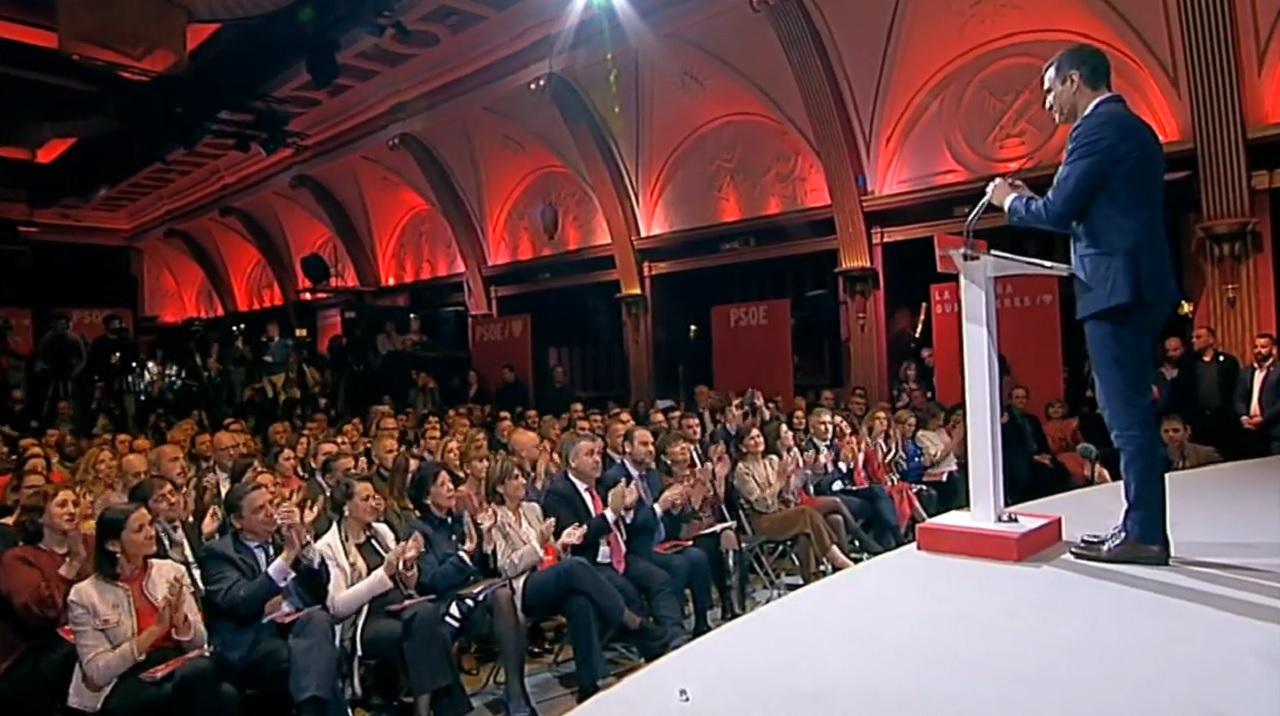 Pedro Sánchez, presidente del Gobierno, en la pesentación del programa electoral del PSOE, este miércoles.