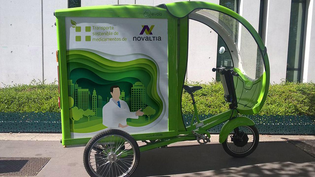 Bicicleta para el transporte de medicamentos de Novaltia.