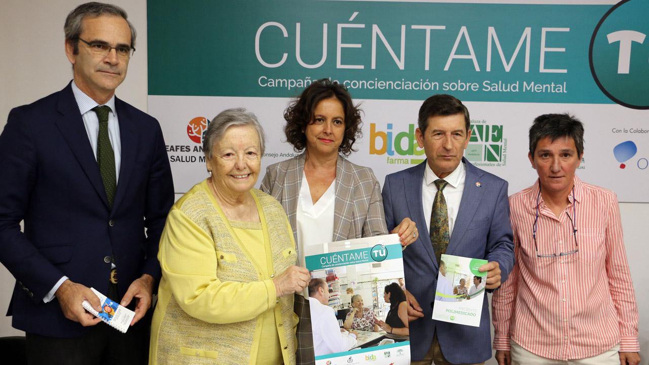 Ernesto Cervilla, María Galiana, Catalina García, Manuel Movilla y Mercedes Castro, durante la presentación de la campaña 'Cuéntame tú'.