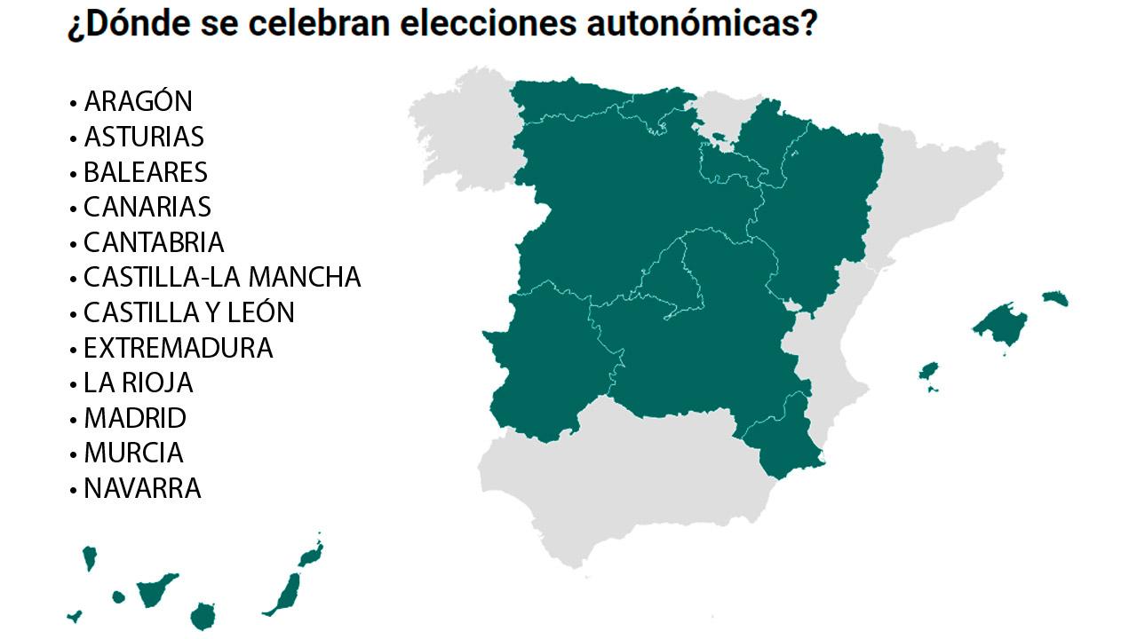 Regiones que celebran elecciones autonómicas el 26 de mayo.