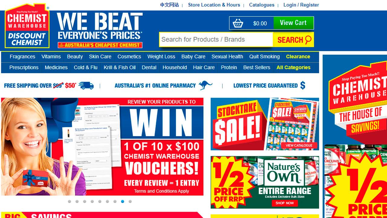 Aspecto de la página principal de la web de Chemist Warehouse, la cadena de farmacias líder de Australia.