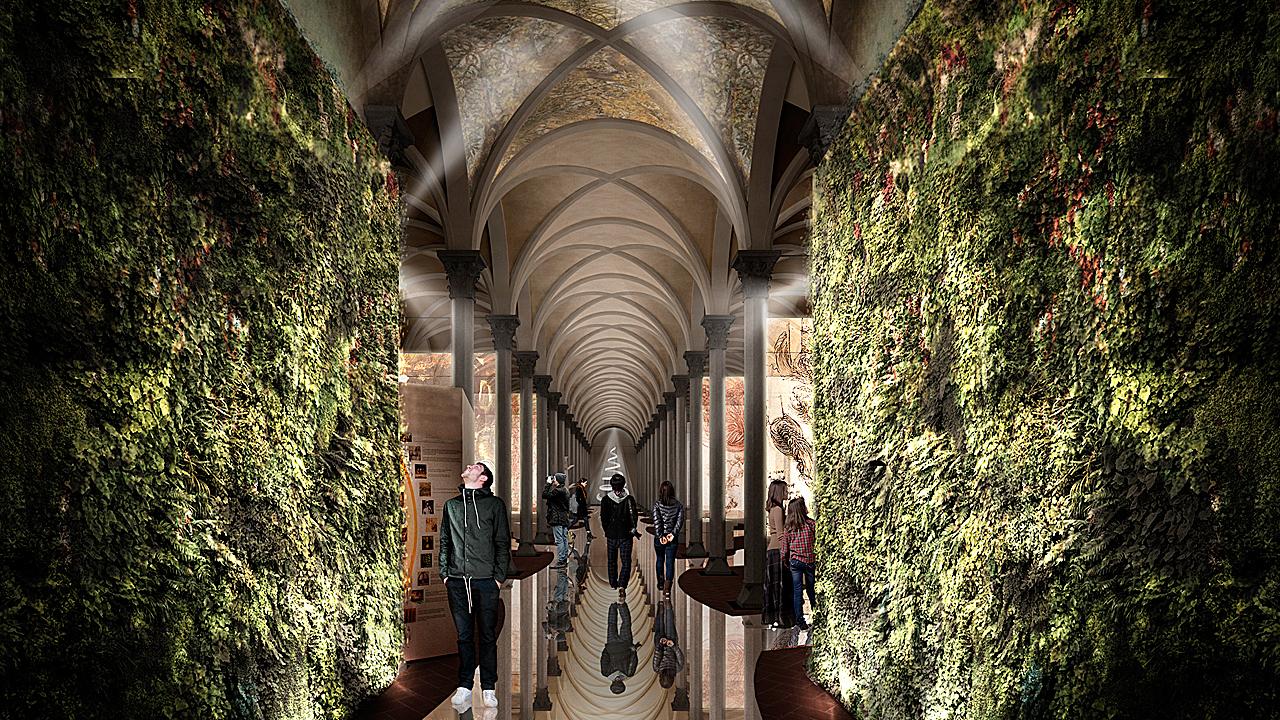 Entrada a la exposición de Leonardo Da Vinci, abrigada por un impresionante jardín vertical.