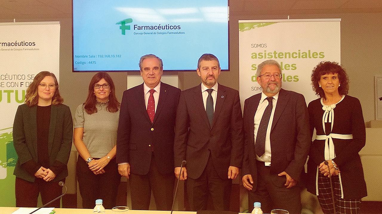 Laura Martín, Montsé Miró (Boehringer), Jesús Aguilar, Adoni Lorenzo, José Javier Mediavilla y Blanca Fernández-Lasquetty, en la presentación.