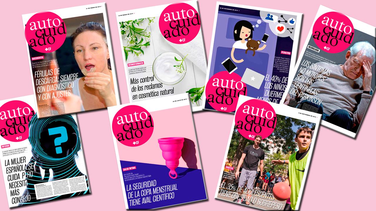 Selección de portadas de la sección de Autocuidado publicadas durante 2019.